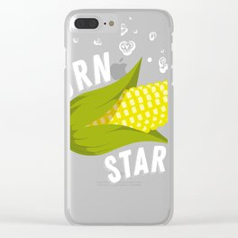 Corn star Shirt yellow corny Cob raining Popcorn Clear iPhone Case
