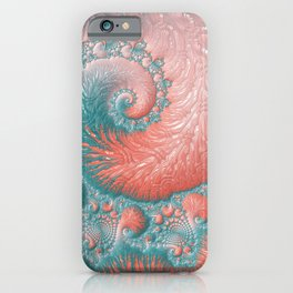Living Coral Teal Blue Spiral Swirl Pattern Abstract Coral Reef Fractal iPhone Case