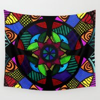 compass Wall Tapestries featuring Compass Mandala by Wealie