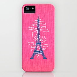 Girly Eiffel Tower Pink Whimsical Paris Typography iPhone Case