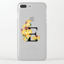 Letter 'E' Evening Primrose Flower Monogram Typography Clear iPhone Case
