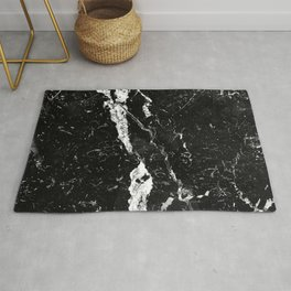 Midnight Black Marble With White Diamond Veins Rug