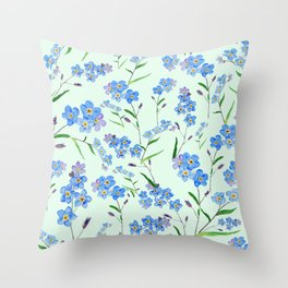 forget me not in green background Throw Pillow