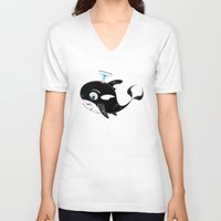 killer whale V-neck T-shirts featuring Cute Killer Whale by markmurphycreative