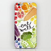 fitzgerald iPhone & iPod Skins featuring Eat Well by Emma Fitzgerald