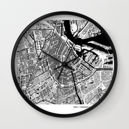 AMSTERDAM BLACK & WHITE MAP Wall Clock