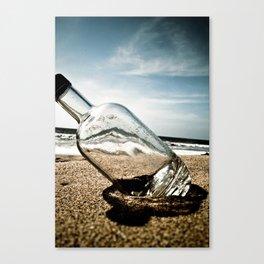 Bottle On Beach Canvas Print
