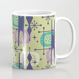 Retro Atomic Mid Century Pattern Blue Green Purple and Turquoise Coffee Mug