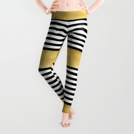 Zebra pattern with golden stripe Leggings