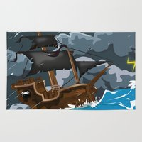 pirate ship Area & Throw Rugs featuring Pirate Ship in Stormy Ocean by Nick's Emporium Gallery