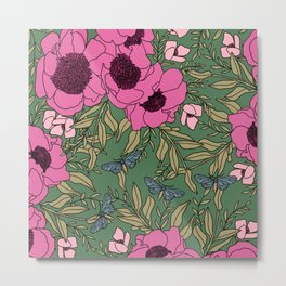 California Pink Peonies and Blue Butterflies Modern Floral Print Metal Print
