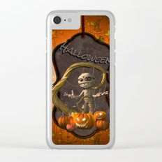 Halloween, funny mummy with pumpkins Clear iPhone Case