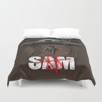 sam smith Duvet Covers featuring Sam by Six Eyed Monster