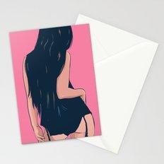 Brunette in black Stationery Cards