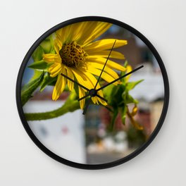 Yellow Flower in NYC Wall Clock