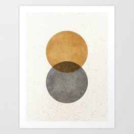 Circle Abstract - Gold Grey Texture Art Print