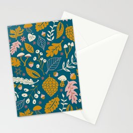 Fall Foliage in Blue and Gold Stationery Cards