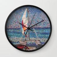 cafe racer Wall Clocks featuring Racer by Juliana Kroscen