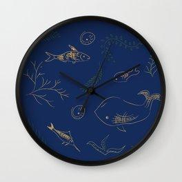 Hand Drawn Marine Life Wall Clock