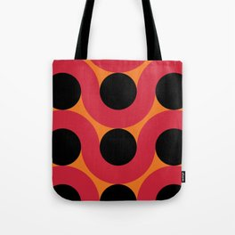 Black Balls on red Elastic Worms in an Orange Background Tote Bag