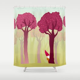 colorful forest with cute dwarf Shower Curtain