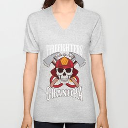 Fireman Firetruck Fire Prevention Flames Gift Firefighters Made The Best Grandpa Awesome Unisex V-Neck