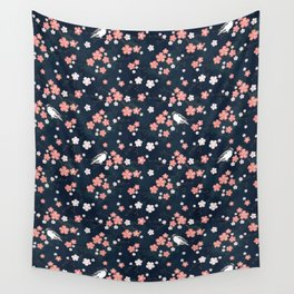 Navy blue cherry blossom finch Wall Tapestry