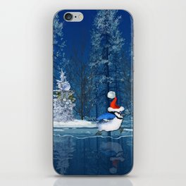 Christmas Blue Bird On Ice iPhone Skin