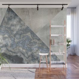 Grey Marble Gemstone Collage Wall Mural