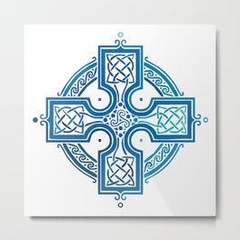 St. Patrick's Day Celtic Blue Cross Metal Print