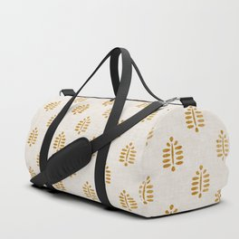 block print palm in golden on natural Duffle Bag