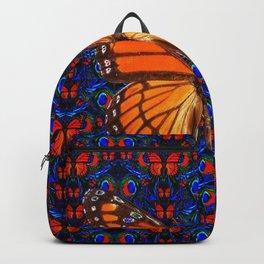 ORANGE BUTTERFLIES  & DARK BLUE ART PATTERN Backpack