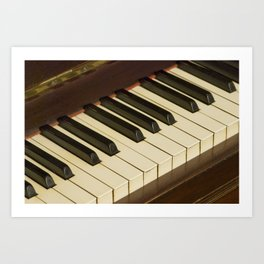 Old Piano Keyboard tilt view Art Print