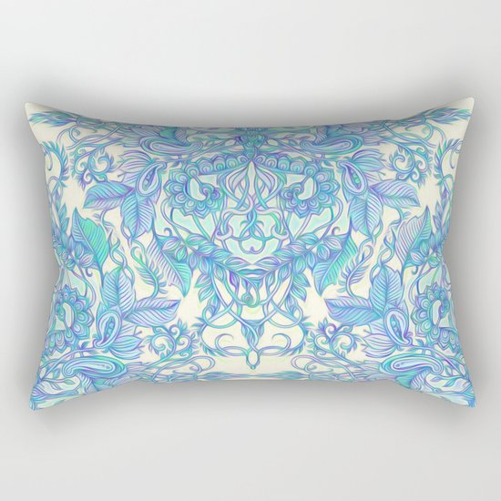 Lilac, Mint & Aqua Art Nouveau Pattern Rectangular Pillow