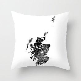 Typographic Scotland European map art Throw Pillow