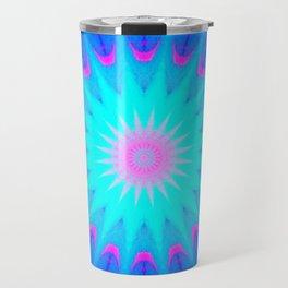 Fuchsia Pink & Blue starburst Travel Mug