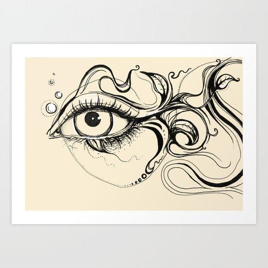 Eye Fish Doodle Art Print