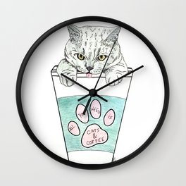 Cats & coffee Wall Clock
