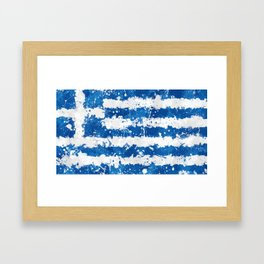 Greece Flag - Messy Action Painting Framed Art Print