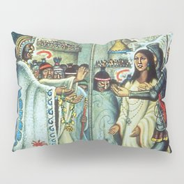 The Meeting of Monteczuma, Malinche, & Cortés 1521, Tenochtitlán by Diego Rivera Pillow Sham