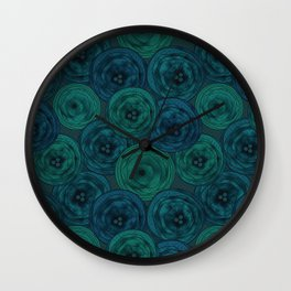 Blue and green anemones Wall Clock