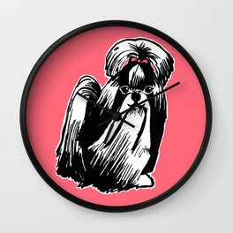 Longhaired Shih Tzu Illustration Wall Clock