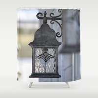 the lights Shower Curtains featuring Lights by Alex Dodds