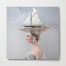 Sailing - White Metal Print