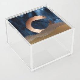 Navy Blue, Gold And Copper Abstract Art Acrylic Box