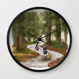 Robot in the Woods Wall Clock