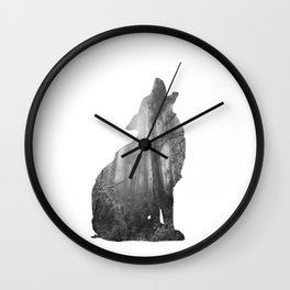 Wolf Silhouette | Forest Photography | Black and White Wall Clock