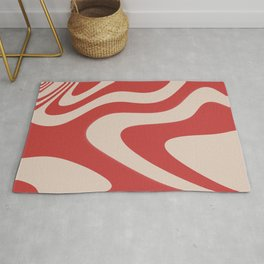 Beige & Rouge Red Abstract Fluid Pattern Design  Rug