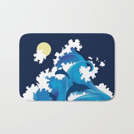 Big Waves and Dolphins Bath Mat
