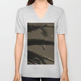 Moon and palm  Unisex V-Neck